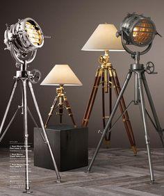 Bachelor Decor, Industrial Floor Lamps, Retro Lamp, Steampunk, Tripod Lamp, Chandelier Lighting, Luxury Furniture, Lamp Light, Lighting Design