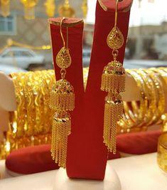 Ali Baba Selani Gold and diamond suppliers Dubai. Gold Jhumka Earrings, Gold Bridal Earrings, Jewelry Design Earrings, Gold Earrings Designs, Necklace Designs, Gold Ring Designs, Gold Bangles Design, Gold Jewellery Design, Dubai Gold Jewelry