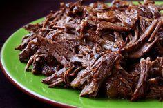 Delicious shredded beef for tacos - made in your crock pot. YUMMY!