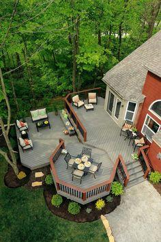 Cozy Backyard Patio Deck Design Decoration Ideas 05 Top Decking Ideas - An Ode To a Beautiful Garden Backyard Patio Designs, Backyard Landscaping, Landscaping Ideas, Patio Ideas, Back Deck Ideas, Backyard Ideas, Porch Ideas, Deck Layout Ideas, 2 Level Deck Ideas
