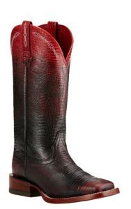 Ariat Women's Red and Black Ombre Lizard Print Western Square Toe Boots | Cavender's