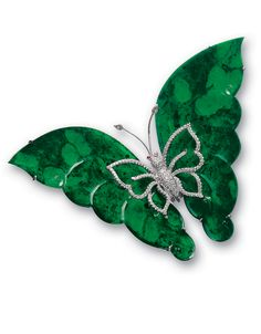*JADEITE AND DIAMOND 'BUTTERFLY' BROOCH The wings carved with two translucent jadeite plaques of intense emerald green colour, the throax set with brilliant-cut diamonds, accented by ruby-set eyes, to the antennae enhanced by diamonds, mounted in 18 karat white gold.