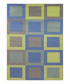 Another great find on #zulily! Blue & Green Squares Rug #zulilyfinds