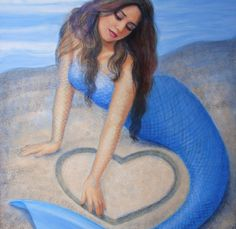 """""""Blue Mermaid 's Heart"""" painting by Sue Halstenberg, signed art poster"""