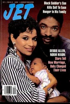 Jet magazine cover- October 1984 Debbie Allen with Husband, Norm, and daughter, Vivian Jet Magazine, Black Magazine, Ebony Magazine Cover, Magazine Covers, Debbie Allen, Vintage Black Glamour, Black Celebrities, Celebs, Journals