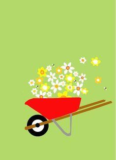 greeting card flower filled wheelbarrow by LizzyClara on Etsy, $3.50