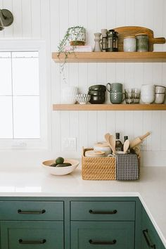 Feb 2020 - lovely farmhouse kitchen by Jaclyn Peters Design. The unusual grey green cabinets, vertical shiplap walls, the warm wood accents especially at the end of the island, the wide white oak floorboards and black accents. Modern Farmhouse Kitchens, Farmhouse Kitchen Decor, Home Kitchens, Dream Kitchens, Tuscan Kitchens, Eclectic Kitchen, Contemporary Kitchens, Luxury Kitchens, Contemporary Bedroom