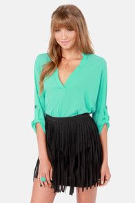 Cute high wasted skirt with green top