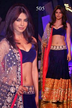 Priyanka Chopra Velvet Blue Bollywood Style Lehenga - 505 at Rs 7020