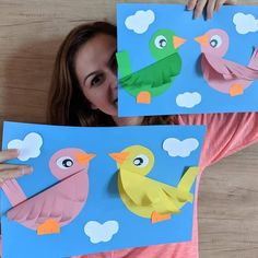Cute paper Bird Picture If you love crafts like this one check ouYou can find School crafts and more on our website. Spring Crafts For Kids, Paper Crafts For Kids, Craft Activities For Kids, Preschool Crafts, Easter Crafts, Fun Crafts, Art For Kids, Bird Paper Craft, Art N Craft