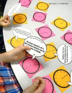 "These hands-on ideas and telling time activities for first, second, and even third graders make what can sometimes be a daunting task easy and fun! Students read and write the time with high engagement games and lessons centered around a popular song and telling time anchor chart. Ideal for teaching 1st, 2nd, and 3rd graders to tell time to the hour/half hour, quarter hour and to the minute. This post also includes a FREE telling time game for kids! Pictured is a variation on ""I Have, Who…"