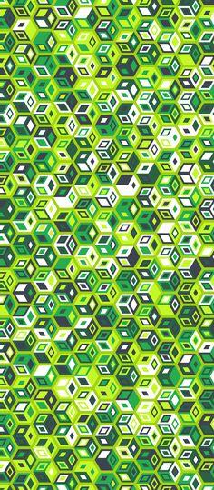Russfussuk 'Cubic' H1A #pattern #patterndesign #patternprint #cubes #squares #blocks #green #geometric #generative #geometria #cadernos #padrões #russfussuk