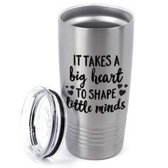 Teacher Travel Mug - Big Hearts Little Minds Tumbler | Personalized Drinkware | Silver