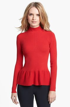 MICHAEL Michael Kors Mock Neck Ribbed Peplum Top available at #Nordstrom
