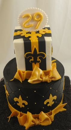Yellow Black And White Cake New Orleans Saints Football Love Cupcake Cookies