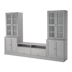 IKEA HAVSTA TV storage combination / Glass doors - home redo - Entertainment Ikea Built In, Tv Built In, Glass Cabinet Doors, Sliding Glass Door, Glass Doors, Glass Shelves, Wall Shelves, Tv Cabinets With Doors, Ikea Cabinets