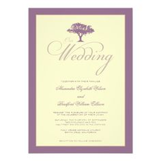Simply Nature Lilac Tree Formal Wedding Invitation #purplewedding #weddings #weddinginvitations
