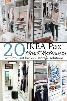20 Inspiring IKEA Pax Closet Makeovers | A round-up of the best closet makeovers using the IKEA Pax system with hacks to make it look custom and solutions for creating the most functional closet. #closet #IKEA