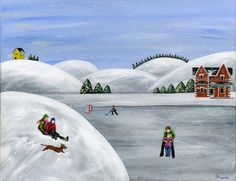 """Hilly Humbleness"" Original 16x20 Winter Christmas Folk Art Acrylic Painting by Brianna of treehugginlovin on Etsy"