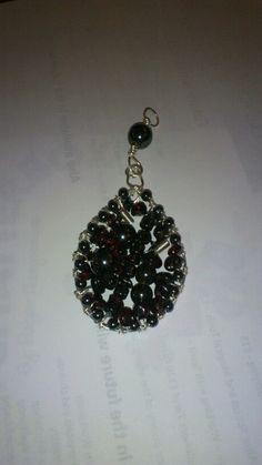 Hematite and garnet pendant