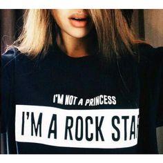 im not a princess im a rock star tshirt goth punk tee grunge fashion... ($23) ❤ liked on Polyvore featuring tops, t-shirts, star t shirt, punk rock shirts, punk shirt, black t shirt and rock shirts