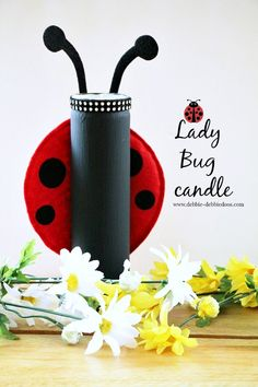 Ladybug luck candle Dollar tree craft idea for Spring.