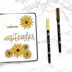 Pretty September cover by 🌼 so excited to see everyone's September covers! Bullet Journal With Calendar, Bullet Journal For Beginners, Bullet Journal Cover Ideas, Bullet Journal Tracker, Bullet Journal Lettering Ideas, Bullet Journal Writing, Bullet Journal Themes, Bullet Journal Spread, Bullet Journal Layout