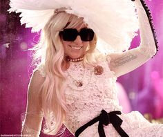 I love Lady Gaga, she is strong, artistic, writes all of her own songs and has a heart of gold. Lady Gaga Pictures, Big Hats, Style Icons, Jealous, Play Dress, Mtv, White Lace, Idol, Lady Gaga Images
