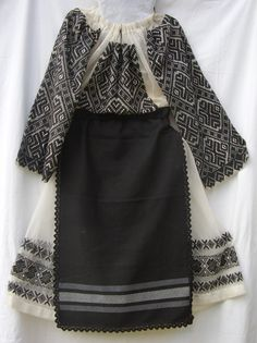 "Women folk costume from Apuseni Moutains, shirt and skirt on cotton or linen cloth, with black geometrical motives, aprons from ""postav"" Ethnic Outfits, Embroidery Fashion, Folk Costume, Historical Costume, Traditional Dresses, Boho Chic, How To Look Better, Linen Cloth, Origins"