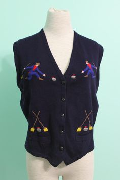 Vintage Embroidered Sweater Vest with Curling Figures by DellaRuth