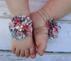 Floral Baby Barefoot Sandals with Beige Elastic- Newborn Sandals - Baby Clothing - Newborn Clothing - Baby Girls - Photography Prop