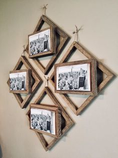 Diy Picture Frames On The Wall, Rustic Picture Frames, Picture Frame Crafts, Hanging Picture Frames, Collage Picture Frames, Reclaimed Wood Picture Frames, Decorate Picture Frames, Picture Hangers, Diy Wood Picture Frame
