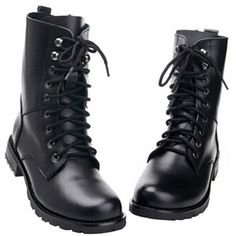 Odema Women Leather Lace up Military Combat Boots Single/ Fur Lining ($20) ❤ liked on Polyvore featuring shoes, boots, military boots, military style boots, military combat boots, army boots and fur lined shoes