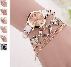 Leather Women Chain Bracelet Watch Heart Pendant From Inspire Gift Shop Collections. Mens Fashion Wear, Womens Fashion Online, Fashion Top, Fashion 2018, Cheap Fashion, Fashion Ideas, Fashion Dresses, Fashion Trends, Women Jewelry