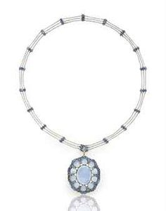 A MOONSTONE AND SAPPHIRE PENDANT NECKLACE