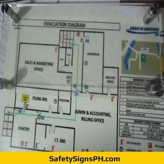 Deliver a safe and clear egress route to building occupants with our customized photoluminescent evacuation p. Marketing Office, Sales And Marketing, Evacuation Plan, Philippines, Maps, Floor Plans, Diagram, How To Plan, Map