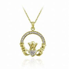 Shop for DB Designs Gold over Silver Diamond Accent Claddagh Necklace. Get free delivery On EVERYTHING* Overstock - Your Online Jewelry Destination! Claddagh, White Stone, Silver Diamonds, Beautiful Necklaces, Jewlery, Jewelry Watches, Gold Necklace, Purses, Chain