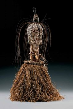 Africa | Statue from the Songye people of DR Congo | Wood, metal, leather, teeth, elephant hair, kaolin, horn