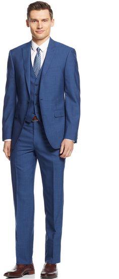 Calvin Klein X Mid Blue Stripe Vested Extra-Slim-Fit Suit