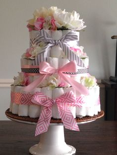 Diaper cake for a girls baby shower