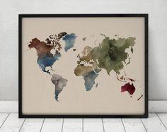 Acuarela de mapa mundo impresión mapa de viajes por ArtPrintsVicky
