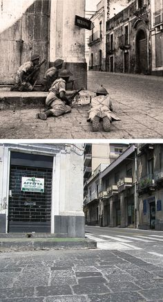 Ghosts of war - Corner covered, 1943, Acireale, Sicily - Then & Now by juffrouwjo