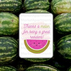 Give your residents a summer gift and boost your resident retention! Give this as a note, post it on social media, or attach it to your favorite watermelon treat. #residentretention #moveingift #summergift