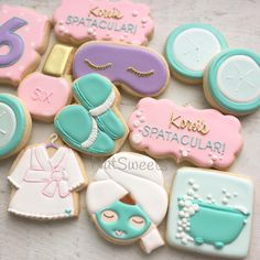 No photo description available. Spa Day Party, Kids Spa Party, Sleepover Birthday Parties, Pamper Party, Teen Parties, Bachelorette Parties, Spa Cookies, Fancy Cookies, Cute Cookies