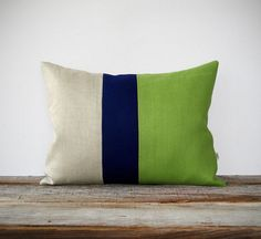 Color Block Stripe Pillow in Lime Green Navy by JillianReneDecor, $55.00