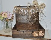 Rustic wedding card box, shabby chic wedding card box