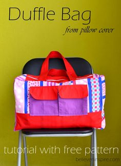 Duffle bag tutorial with free pattern on believeninspire.com
