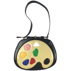 Rare Moschino Artist's Palette Handbag featuring polyvore, fashion, bags, handbags, white patent handbag, white purse, patent leather purse, moschino purse and moschino bag