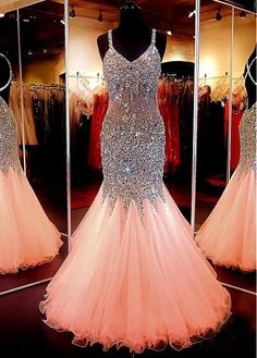 Chic Tulle Spaghetti Straps Neckline Floor-length Mermaid Prom Dress