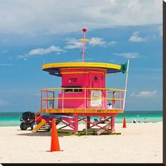 7b495d2df07 Red Lifeguardstand South Beach Stretched Canvas Print